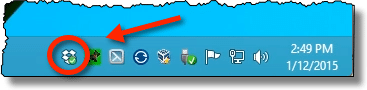 Dropbox icon in the taskbar notification area