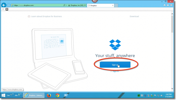 Dropbox SIgnup Button
