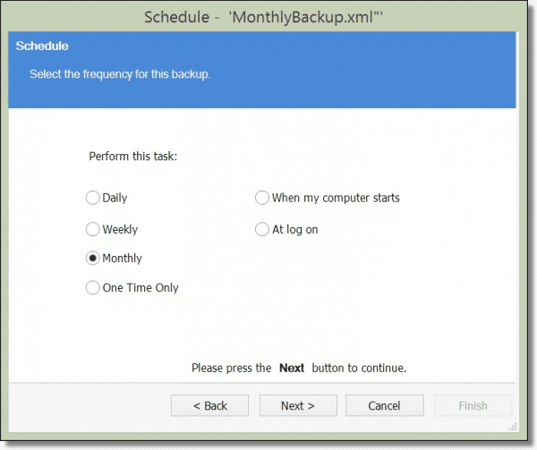 Selecting a Monthly Backup