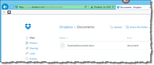 Word document in Dropbox
