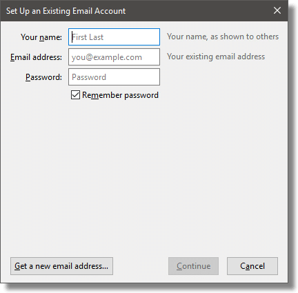 Thunderbird Setup an Existing Account