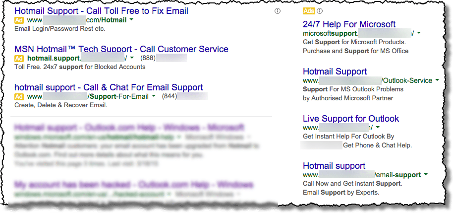 Hotmail Support Search Results
