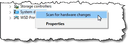 Scan for hardware changes menu item
