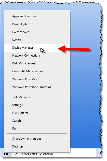 Device Manager in the Windows right-click Start menu