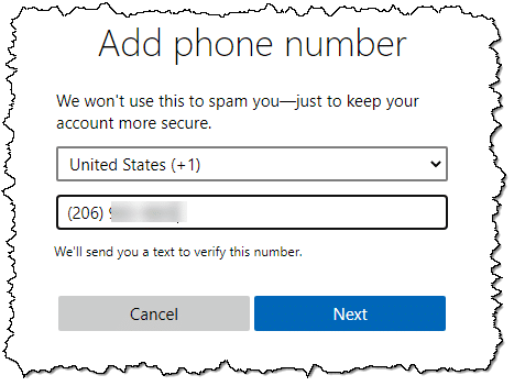 Adding a mobile phone number
