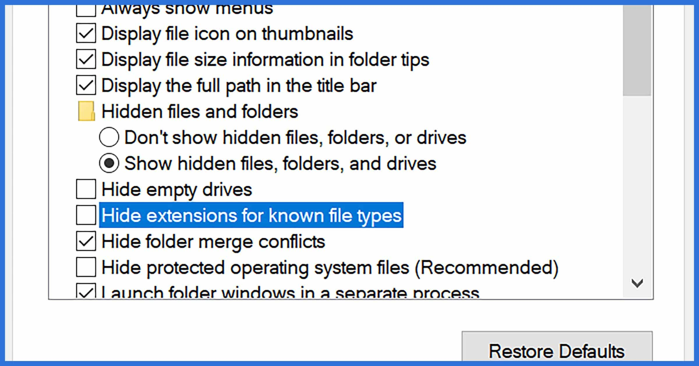 Hide extensions for known file types