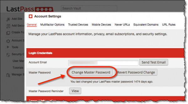 Lastpass account settings