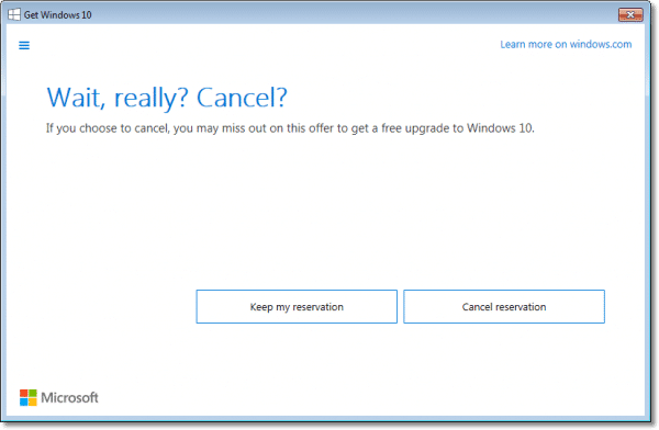 Windows 10 Cancel Confirm