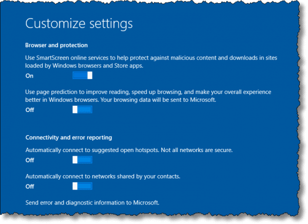 Setting customize settings page 2