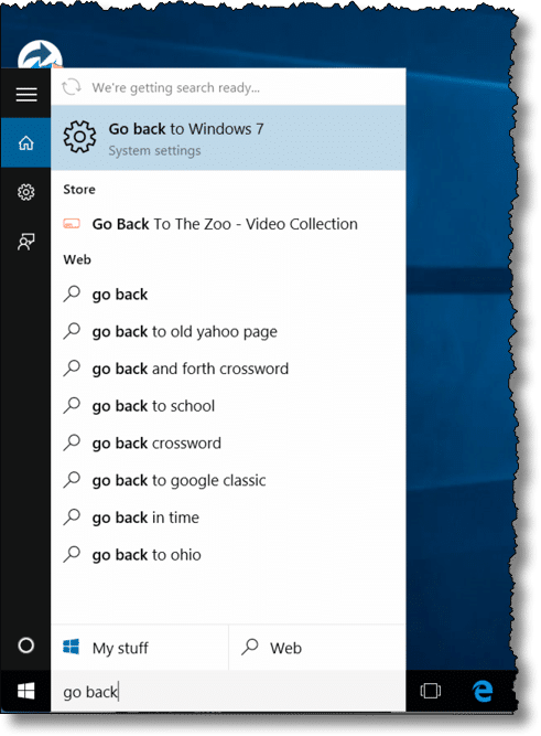 Windows 10 Search for Go Back