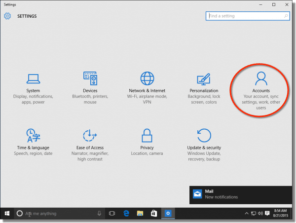 Windows 10 Settings Accounts Link