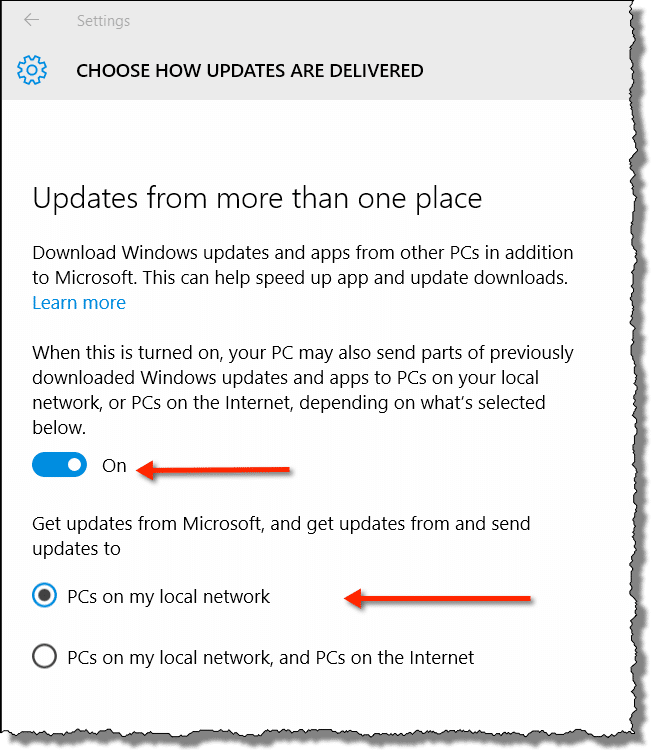 Windows 10 Update delivery options