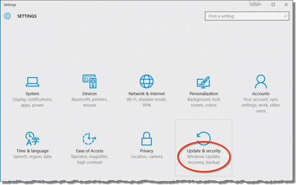Windows 10 Settings - Update and security