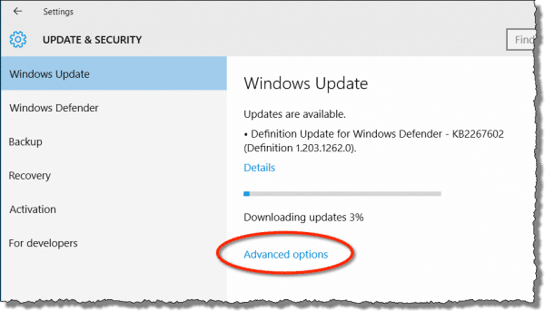 Windows 10 Update Advanced Options link