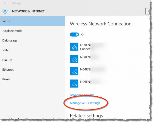 Windows 10 Wireless Settings