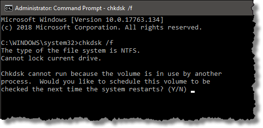 Chkdsk cannot run because the volume is in use by another process