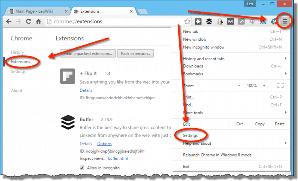 Extensions in Chrome