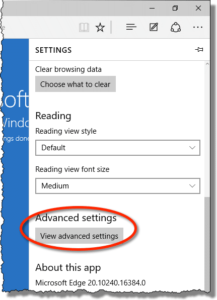 Edge Advanced Settings Link