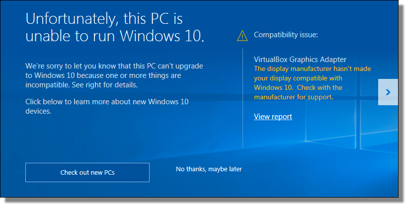 Even so, this computer can run Windows 10