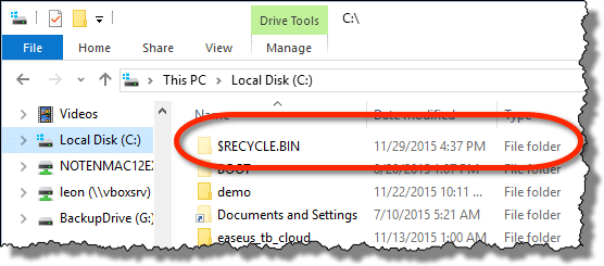 Recycle Bin on C: