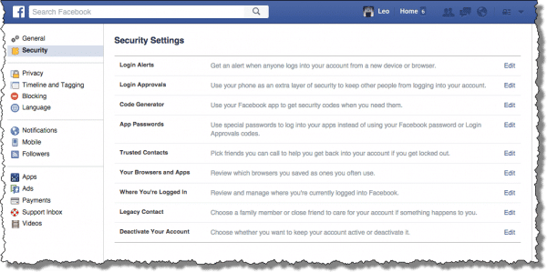 Facebook Security Settings