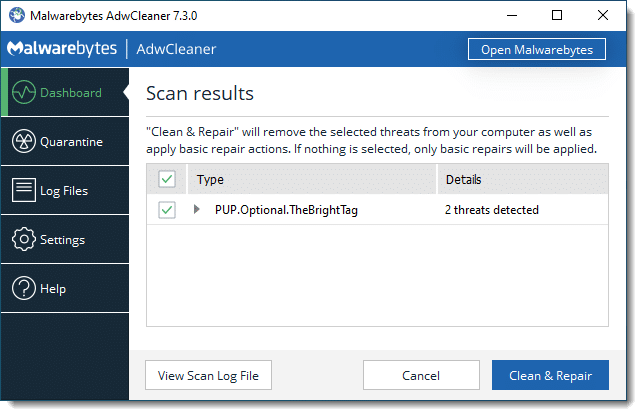 AdwCleaner showing results
