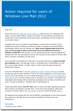 Outlook.com and Windows Live Mail 2012 message