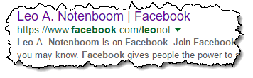 Facebook page in Google results