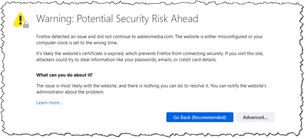 """""""Warning: Potential Security Risk Ahead"""""""