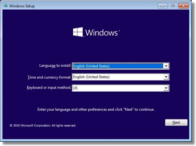 Windows Setup Language Choice