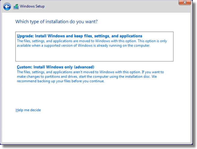 Windows Setup Install Type