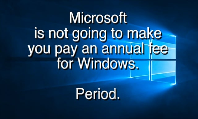Charging an Annual Subscription for Windows? Nope.