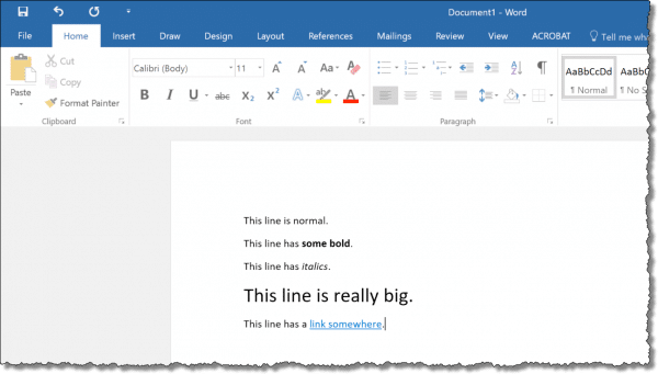 A document with assorted formatting
