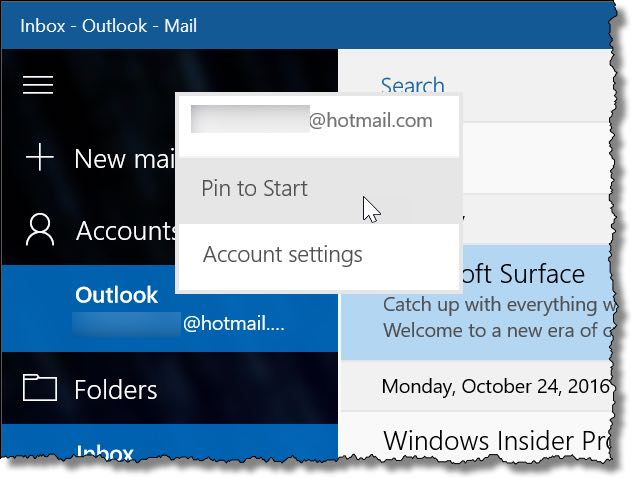 Pinning an Email Account to the Start Menu