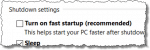 Turn on fast startup checkbox