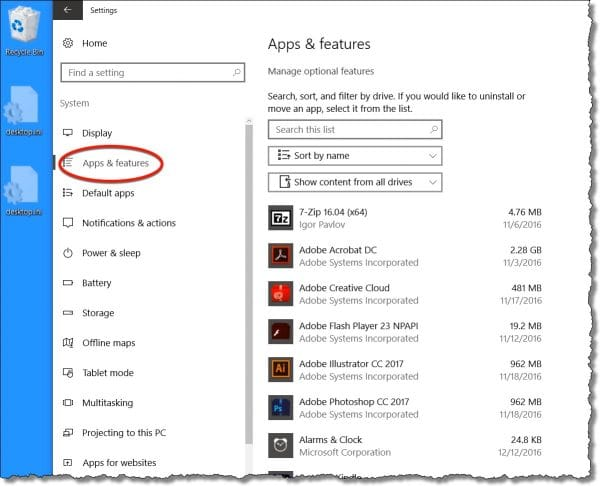 Windows 10 Settings - Apps & Features