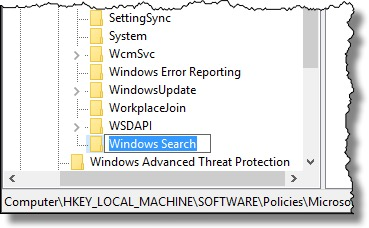 New Key named Windows Search