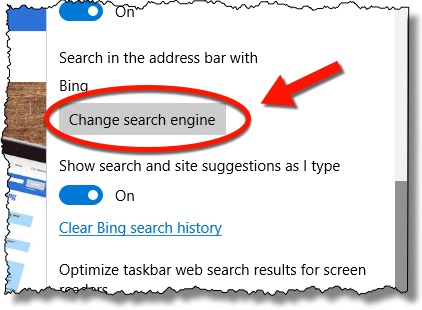 Edge Change Search Engine Link