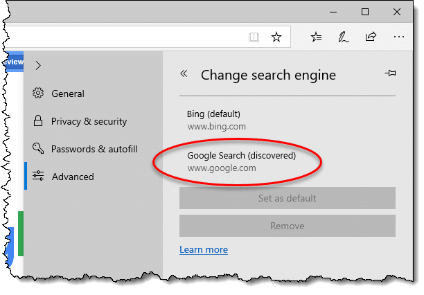 Google as a search engine option in Edge Legacy