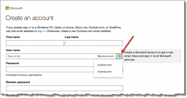 Create a new email account