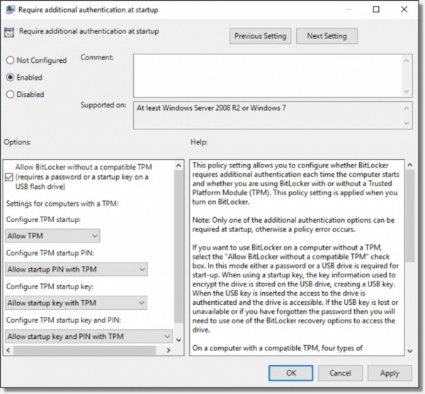 Changing the TPM Setting in GPE