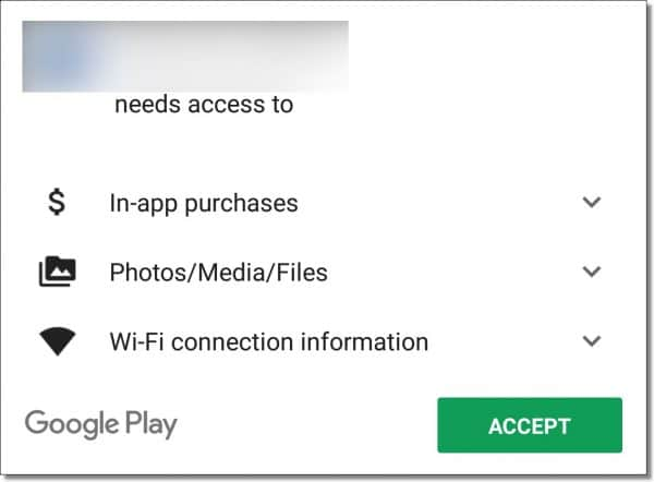 App needs access to....
