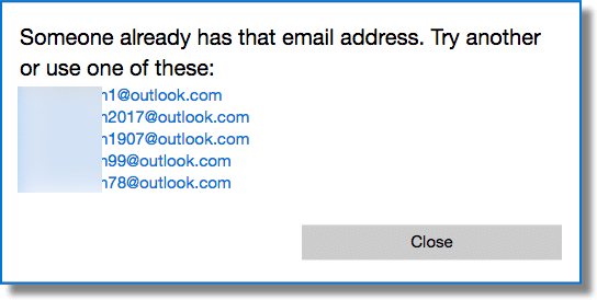 Try another email address