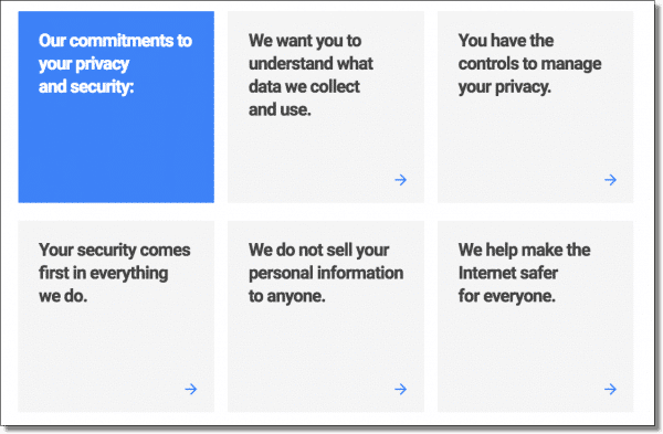 "The privacy ""sales page"""