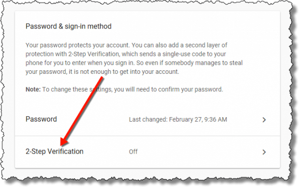 Google - Password & Sign-in Method