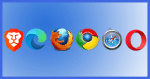 An assortment of browser icons.