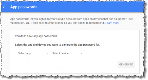 Generate App Password dialog