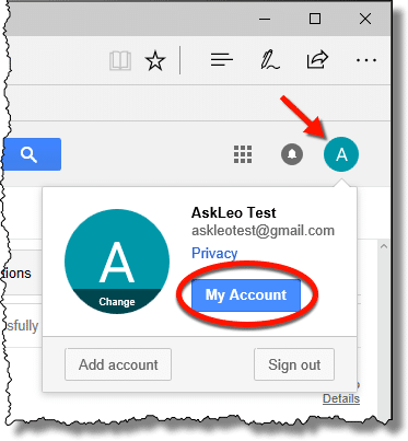 Google My Account button