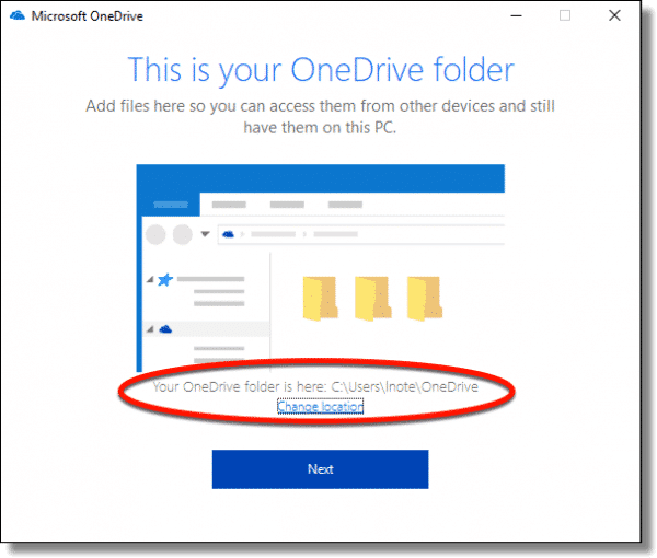 OneDrive Default Folder Location