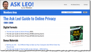 Ask Leo! Guide to Online Privacy - Members Area